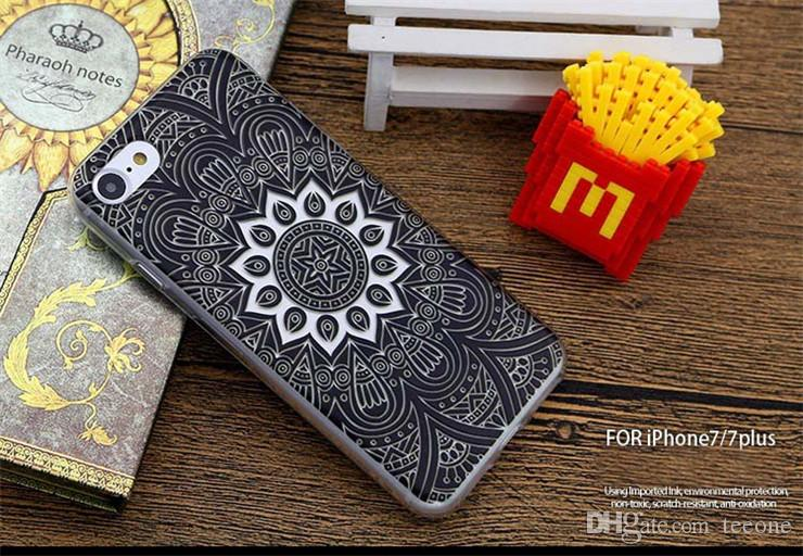 Flower Butterfly Marble Tower Feather Henna Case For Iphone 7 7Plus Shell Soft Shell Phone Sets TPU Creative Arts All Inclusive Cases