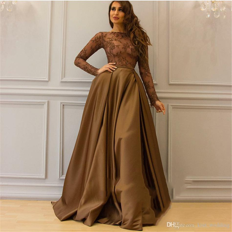 Modest Coffee Long Evening Gown See Through Top Long Sleeves Satin Full Length African Dubai Party Cocktail Dresses with Applique Sequins