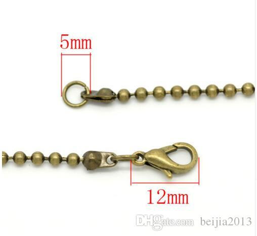 24 Strands Antique Bronze Ball Chain 2.4mm Lobster Clasp Necklaces 46cm Findings Wholesale