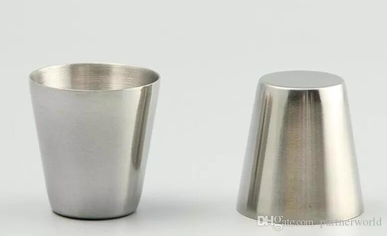 Toptan-30ml Taşınabilir Paslanmaz Çelik Atış Gözlük Barware Bira Şarap İçme Cam Açık Havada Kupası