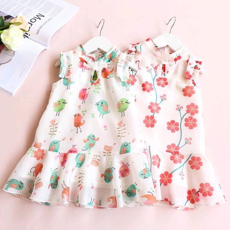 a4f19e86007e New Summer Baby Girl Casual Dress Birds Flower Designs Flouncing Hemline  Petal Sleeve Solid Collar Qipao Dress Skirt Kids Clothing Girl Dress Summer  Dress ...