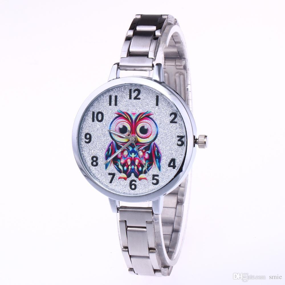 Fashion Owl Casual Orologio al quarzo Donna Cinturino in acciaio inossidabile Orologi da polso Orologi da donna da uomo Orologi ANT3482