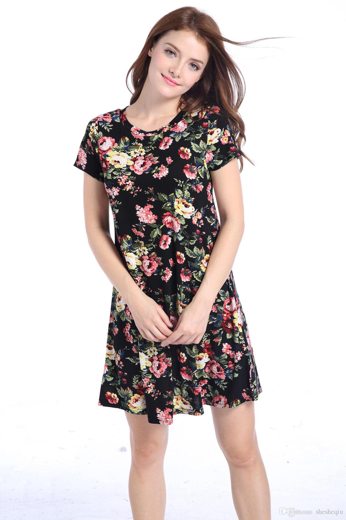 Casual Flower New Spring Summer Plus Size Women Clothing 2017 fashion Floral Print Pattern Cute dresses vestidos D065