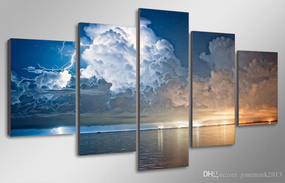 Framed HD Printed lightning and clouds Painting on canvas room decoration print poster picture canvas /ny-1410