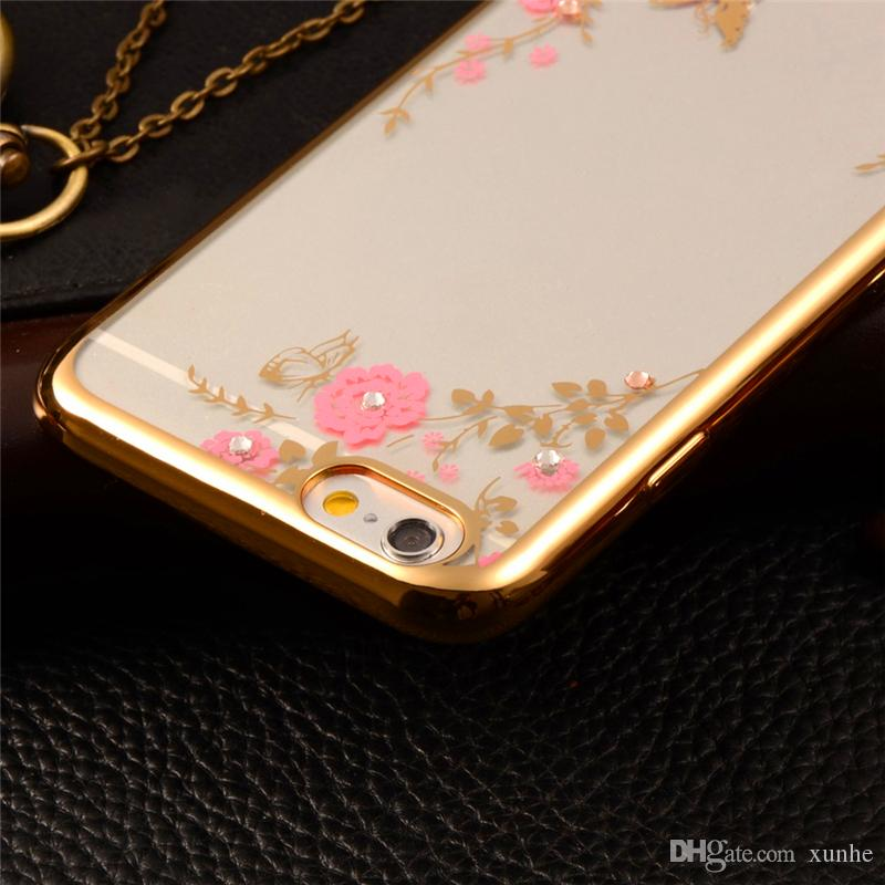 Secret Garden Flowers Bling Case For iPhone 7 6s Plus Samsung S7 S6 Transparent Gel TPU Phone Case Plating Electroplated TPU Phone Shell
