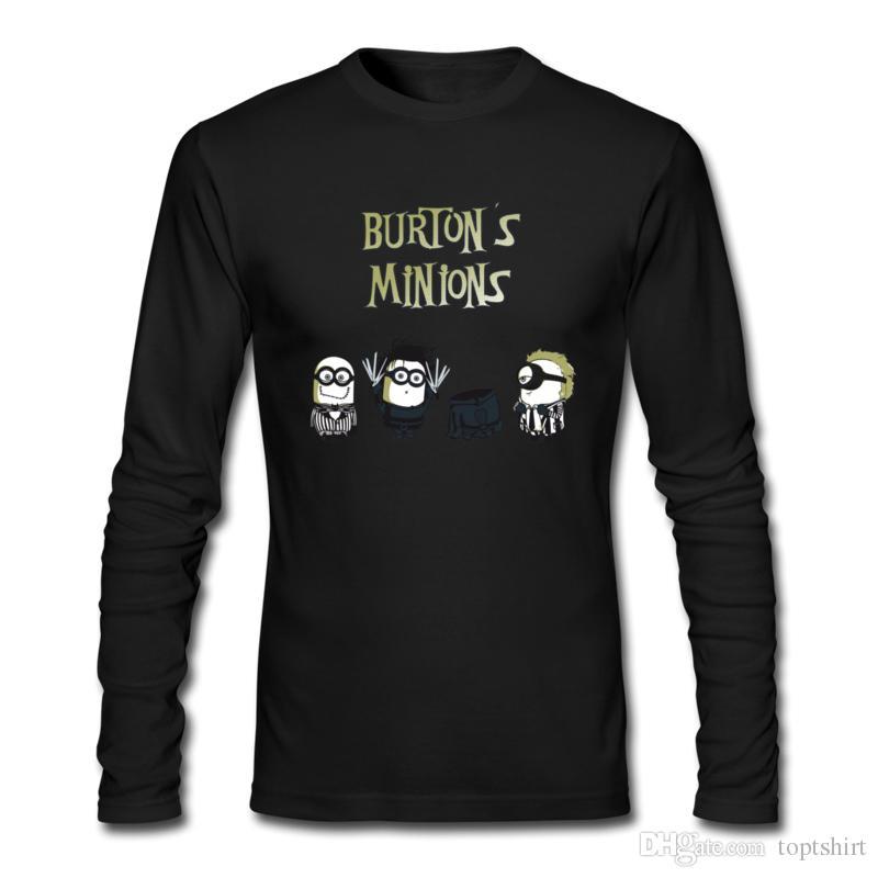 Special Mens 100% Cotton Long T-Shirts Crewneck Burton's Minions Mens Gray/Navy Long Sleeve Slim Fit t shirt S-XXL Personality Long T-Shirts