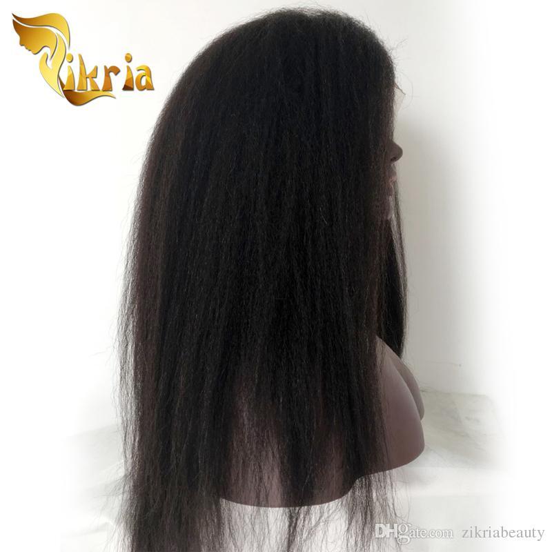 Crépus Droite Sans Colle Full Lace Perruques De Cheveux Humains Brésilien Indien Malaisien péruvienne avant de Lacet Perruques Pour Les Femmes Noires