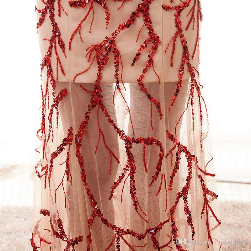 Vestidos de noche de manga larga Joya Escote transparente Elie Saab Vestido de noche Lentejuelas Vestidos de fiesta clásicos de noche Zuhair Murad Vestidos de baile 2017