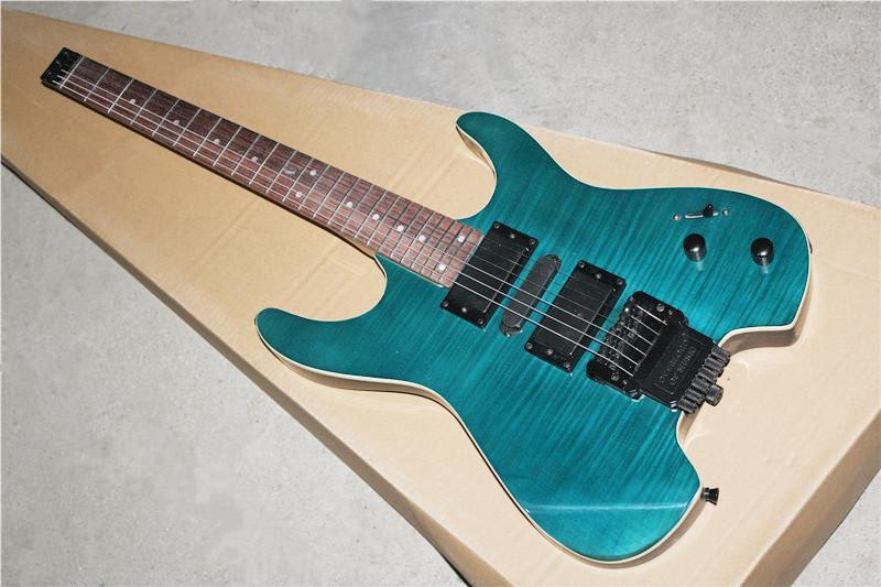 wholesale hot sale blue electric guitar without headstock flame maple veneer and basswood body. Black Bedroom Furniture Sets. Home Design Ideas
