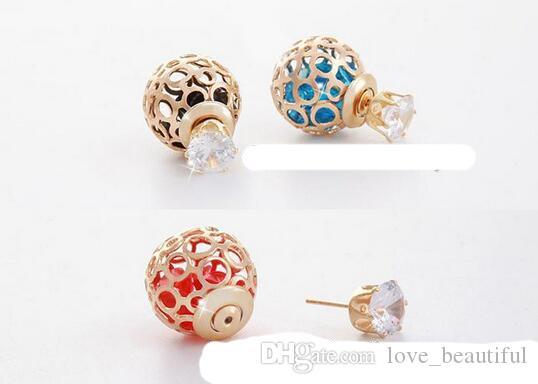 2017 hot sales Double Pearl Earrings 8mm CZ Zircon Studs 16mm Crystal Ball Earrings Hallow Ball Crystal Ball Double Sided Pearl Earrings
