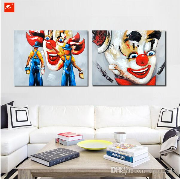 Set Pop Colour Funny Street Graffiti Clowns Wall Art Figure Poster Canvas Paint Home Decor Picture For Bedroom Or Living room