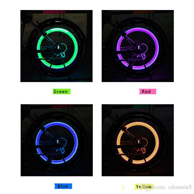 Outdoor Bicycle Bike LED Neon Tire Wheel Gas Nozzle Valve Core Glow Stick Light For Driving Bicycle Accessories packing