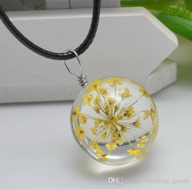 Brand new Explosive handmade plants dried flowers necklace lace flower glass ball pendant WFN315 with chain a