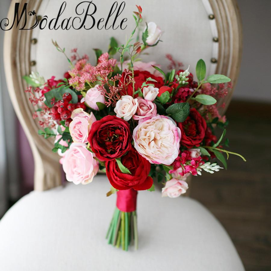 2018 Modabelle New Style Outside Wedding Bouquets Red Pink