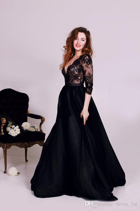 Vintage 2016 Black Lace Tulle A-line Wedding Dresses Cheap V Neck 3/4 Long Sleeve Gothic Bridal Gowns Plus Size Custom Made EN11107