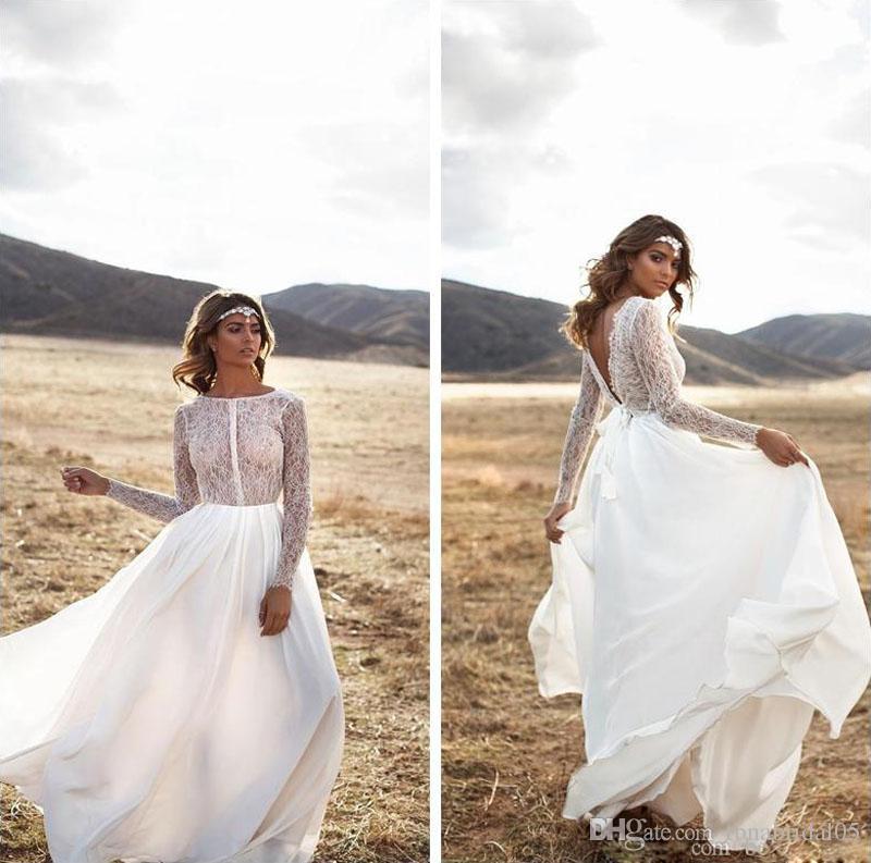 Lace Bohemian Long Sleeves Wedding Dresses V Shape Back Chiffon Boho