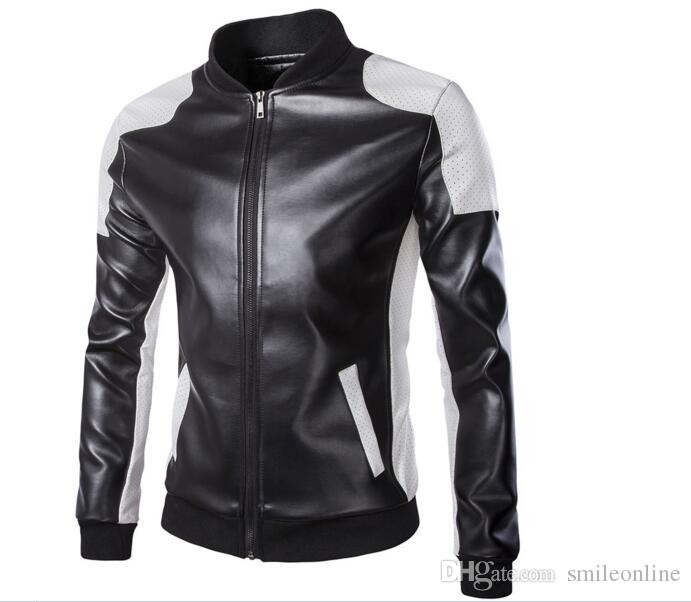 new fashion men's jacket Simple Hit color pu leather jacket Motorcycle jacket slim men's Winter coat mens jackets men's Outwear