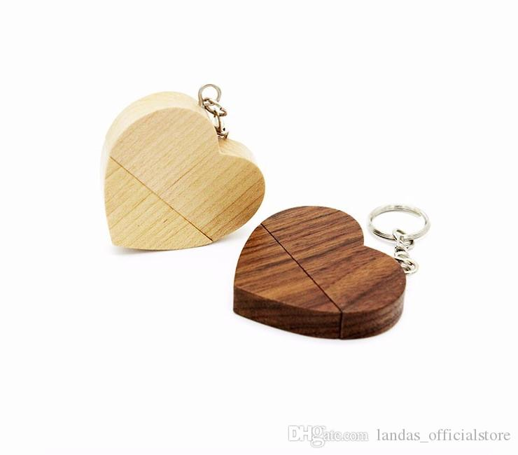 DHL ship customize natrual Wooden Pendrive 4GB 8GB 16GB 32GB Heart USB Flash Drive U disk Memory Stick USB for photography Wedding Gift