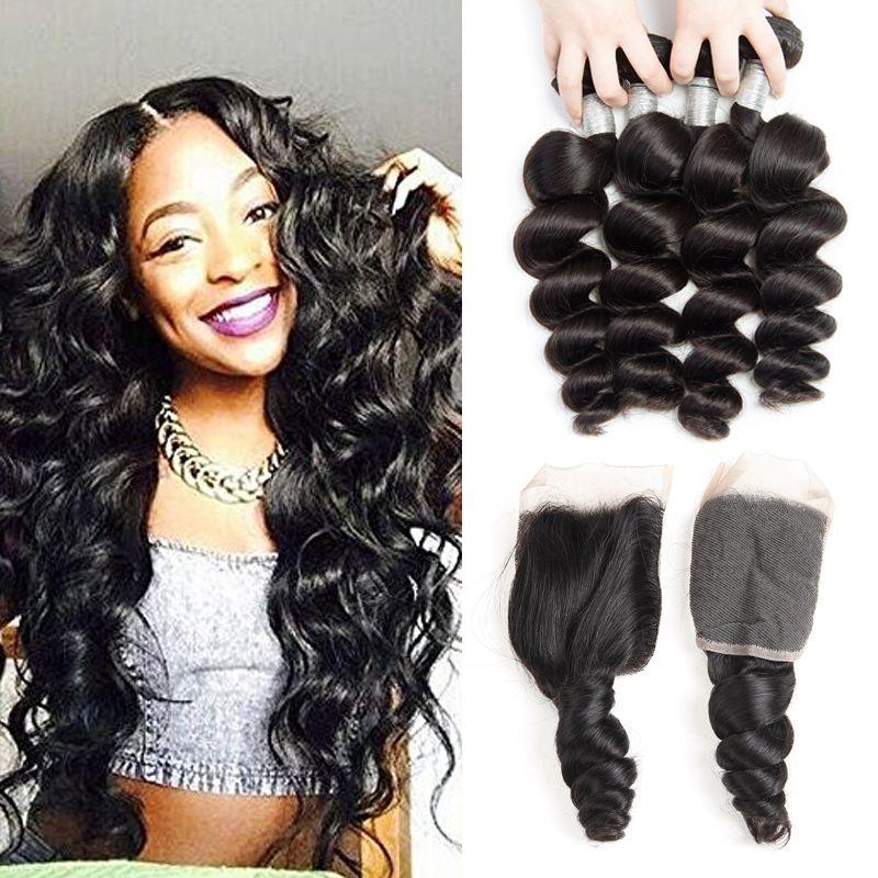 3 Bundles Indian Loose Wave Virgin Human Hair Weaves With Closure