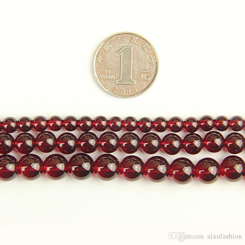 Granos de cristal del vino rojo Granos sueltos redondos del granate de imitación de la venta al por mayor para la fabricación de la joyería 4 6 8 10 12m m Granos de cristal