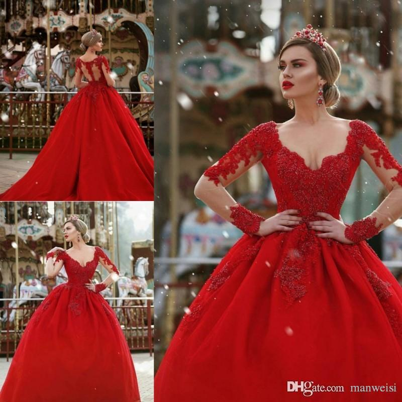 Long Sleeve Tutu Lace Ball Gown Prom Dresses Red Appliqued Scoop ...