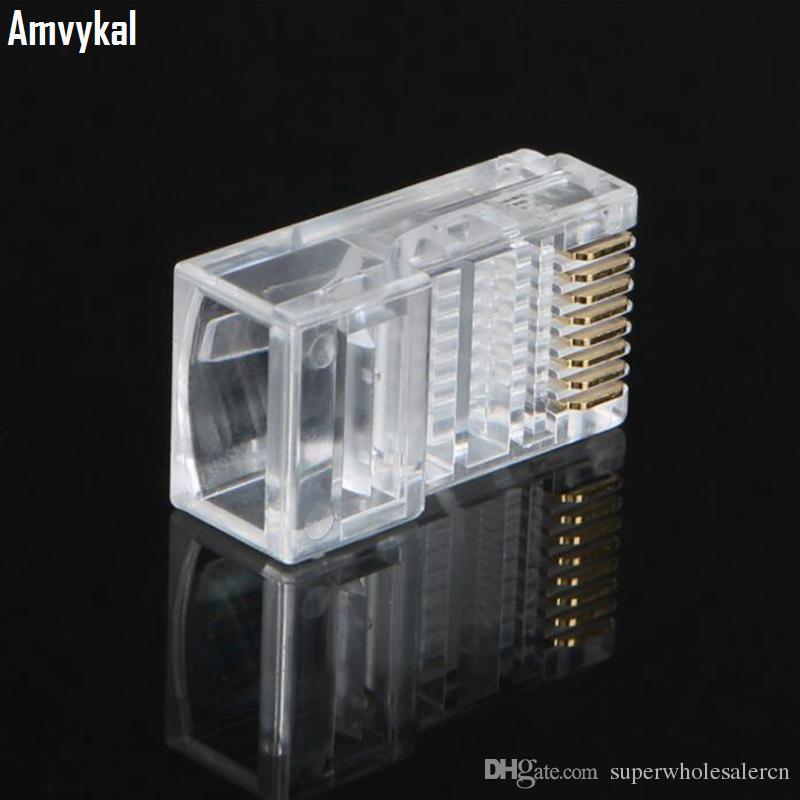 / cristal de alta qualidade RJ45 CAT5E Modular plug CAT5 RJ45 8P8C Lan Ethernet cabo conector modular plug do adaptador de rede