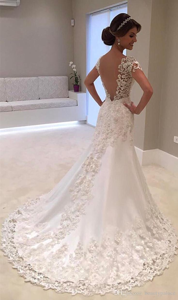 Robe de mariage White Backless Lace A-Line Wedding Dresses 2018 V-Neck Short Sleeve Wedding Gown Mermaid Bride Dress Vestido de noiva