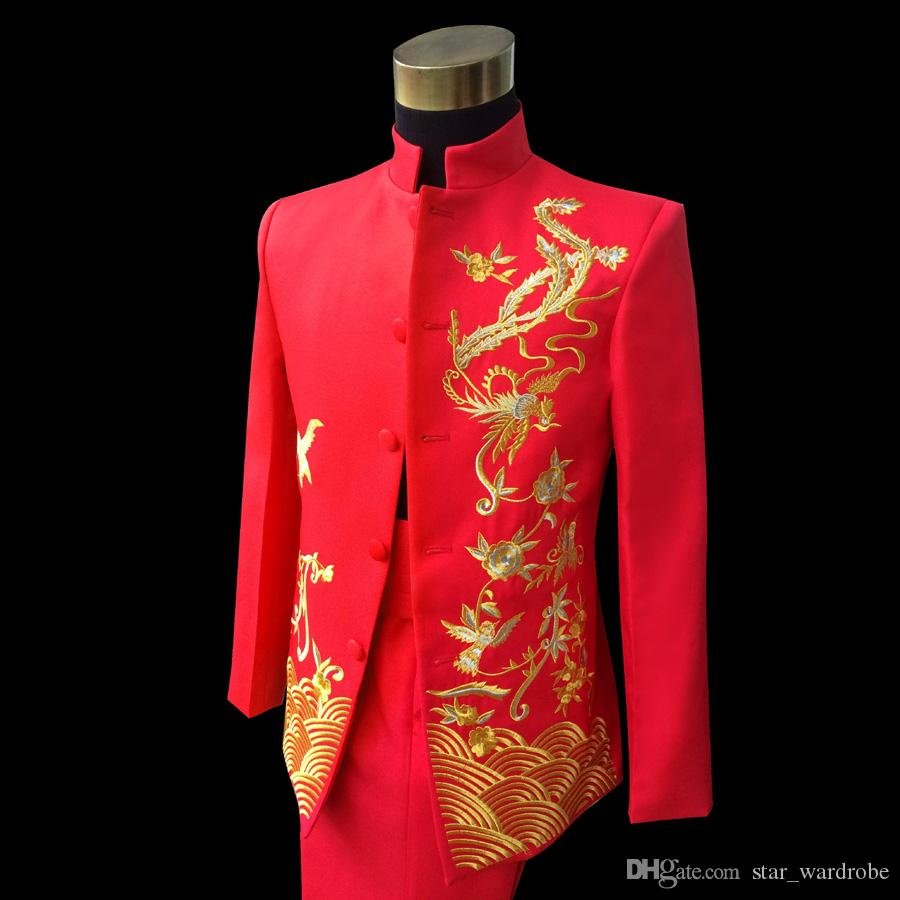 Red Embroidered Chinese tunic Suit wedding performance show Suit & Blazer for Mens