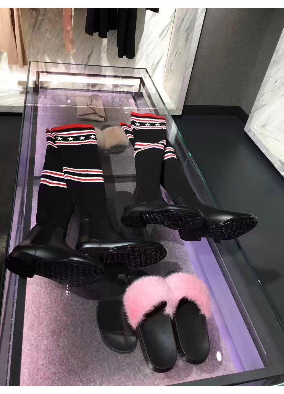Neue Ankunft Frauen Über Kniehohe Stiefel strick Marke Winter Owen Frauen Schnee Socke Stiefel Weibliche Runway Slip-On Wohnungen Martin Stiefel 35-42