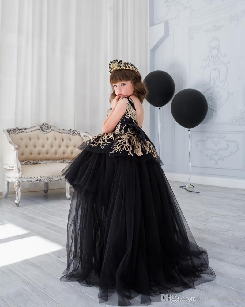 2018 petit tulle noir haute basse princesse pageant robes pour les filles paillettes appliques dos unique robes de filles de fleurs uniques pour les mariages