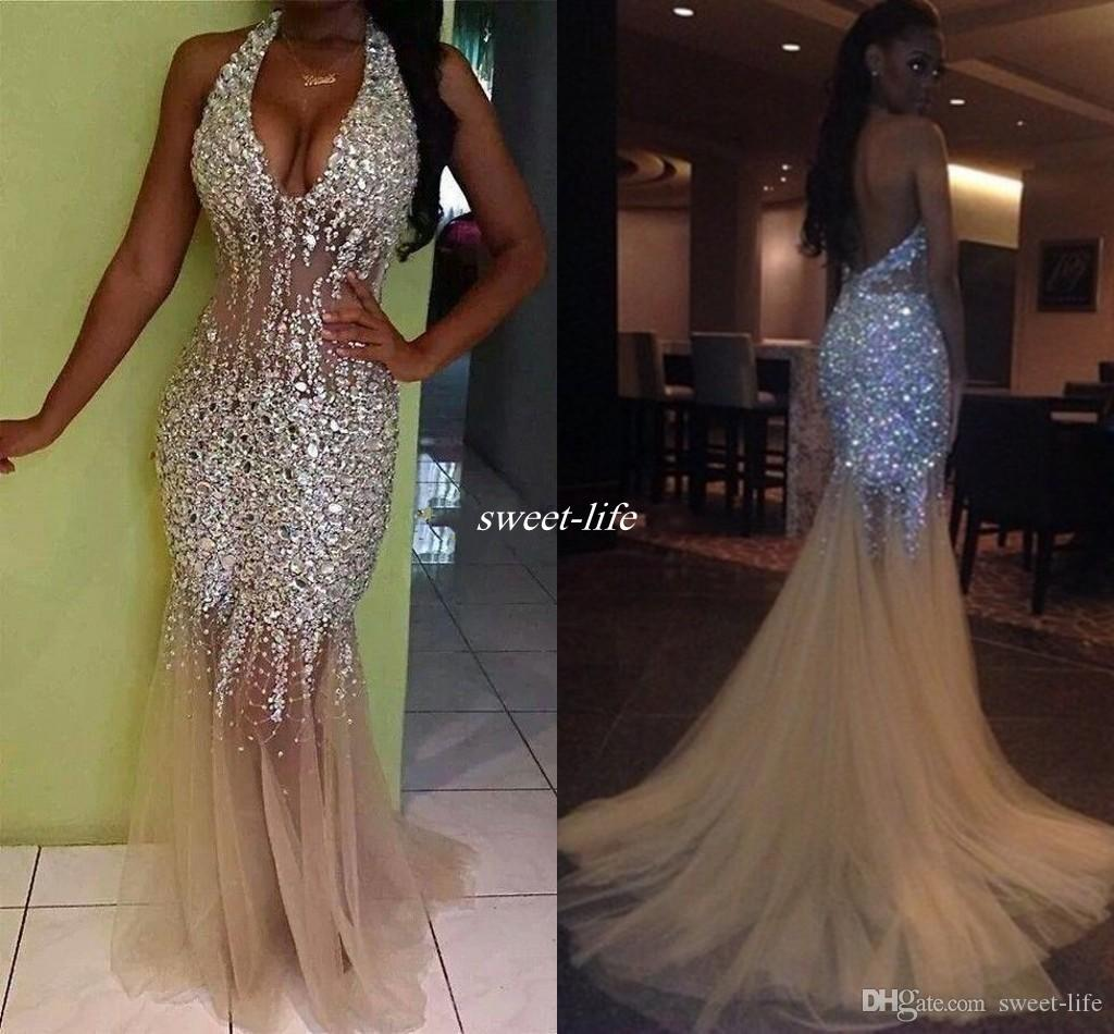 Responsible Gold Lace Long Evening Gowns Crystals Organza Backless Special Occasion Prom Dresses 2017 Floor Length Vestidos De Festa Baile Weddings & Events