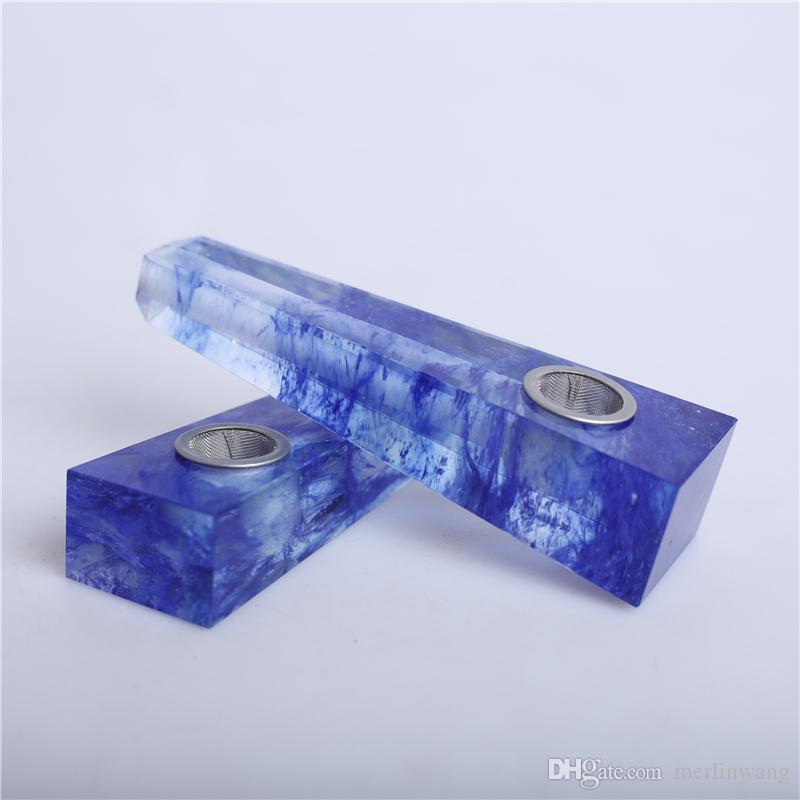 Remboursement !!! HJT Gros moderne carré pipes à tabac naturel bleu fusible cristal de quartz baguettes de tabac tuyaux nouveauté guérison