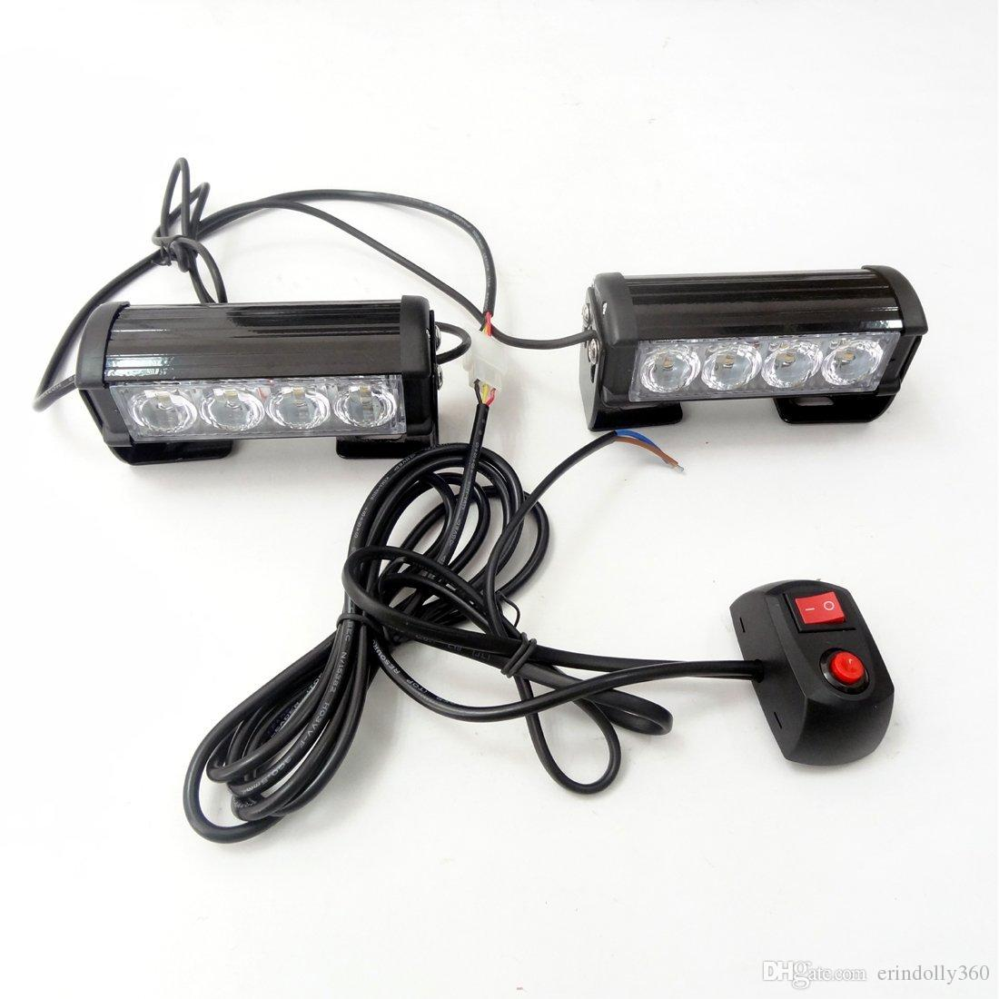 Luci stroboscopiche a LED 2 * 4 camion Jeep SUV Cars 12V Universal Amber Waterproof Emergency Car Light