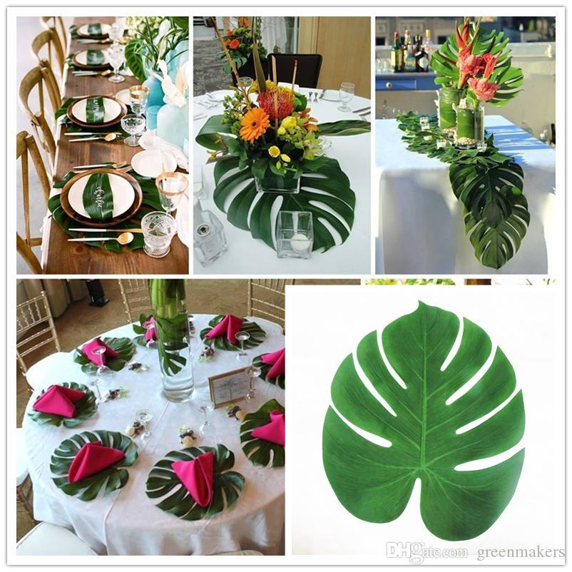 Artificial Tropical Palm Leaves For Hawaii Luau Party Decorations