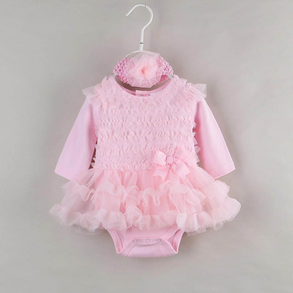 2018 Wholesale Ruffle Baby Party Dress For Newborn Girl Clothes Long ...