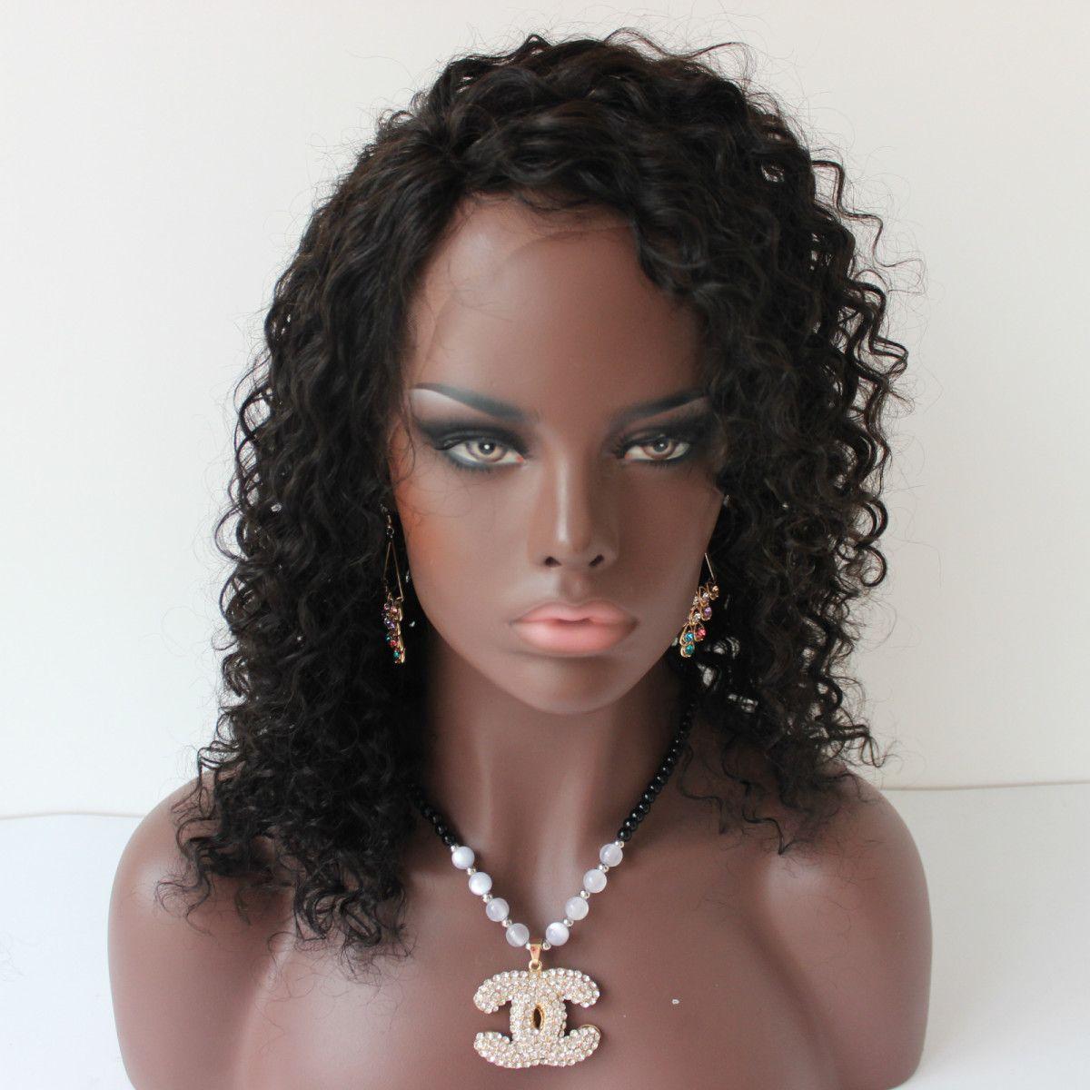 130 Density Peruvian Brazilian Full Lace Human Hair Wigs For Black Women Short Kinky Curly Lace Front Wig For Black Women