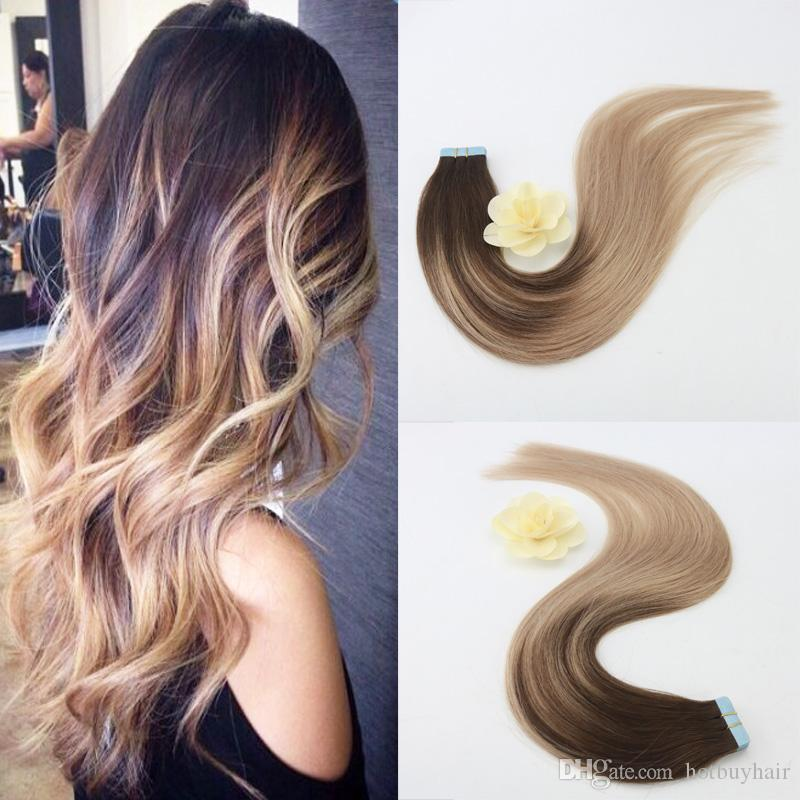 Easy To Dye African American Human Tape Hair Extensions Brazilian