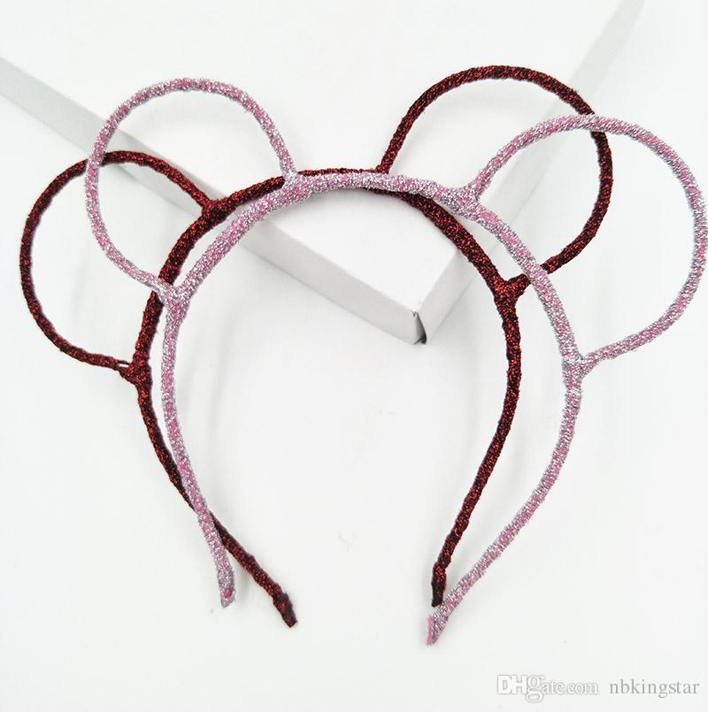 Kadınlar Glitter Ayı Kulaklar Hairband Parti Prop Fare Bandı Saç Aksesuarları Şapkalar 20 adet / grup