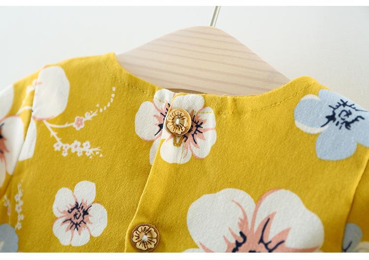 Clear Stock Little Girls Flower Dress Tops 2018 Fall Kids Boutique Clothing Korean Baby Girls Cotton Long Sleeves Dresses with Lace Waist