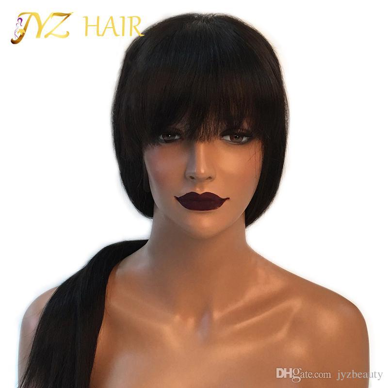 JYZ Full Lace / Front Lace Pelucas de cabello humano de Malasia con cabello de bebé Glueless Full Lace Pelucas de Malasia Virgin Silky Straight Cabello humano