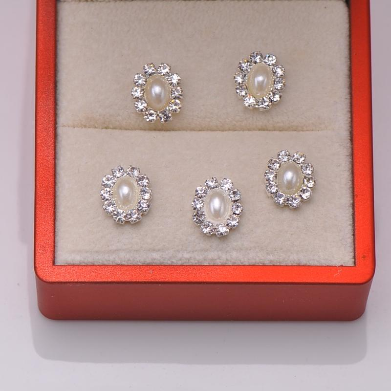 L0007 9mmx10mm Oval pearl rhinestone embellishment,cute products,iovry or pure white pearl in middle
