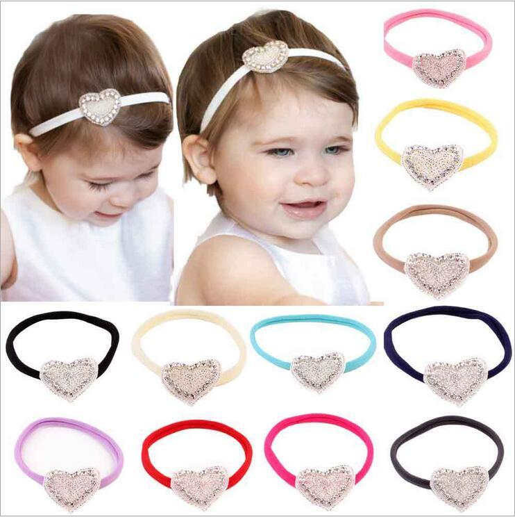 Baby Headbands Shiny Rhinestone Girls Kids Hand Made Elastic Heart Shape  Hairband Party Wear Children Hair Accessories KHA143 Make Baby Hair  Accessories ... f1cf26178b04