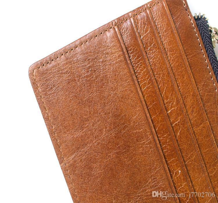 Portafoglio con carta di credito in pelle cera con driver titolare di licenza di alta qualità Designer vintage donna con cerniera portafoglio 2017 nuovo supporto ID