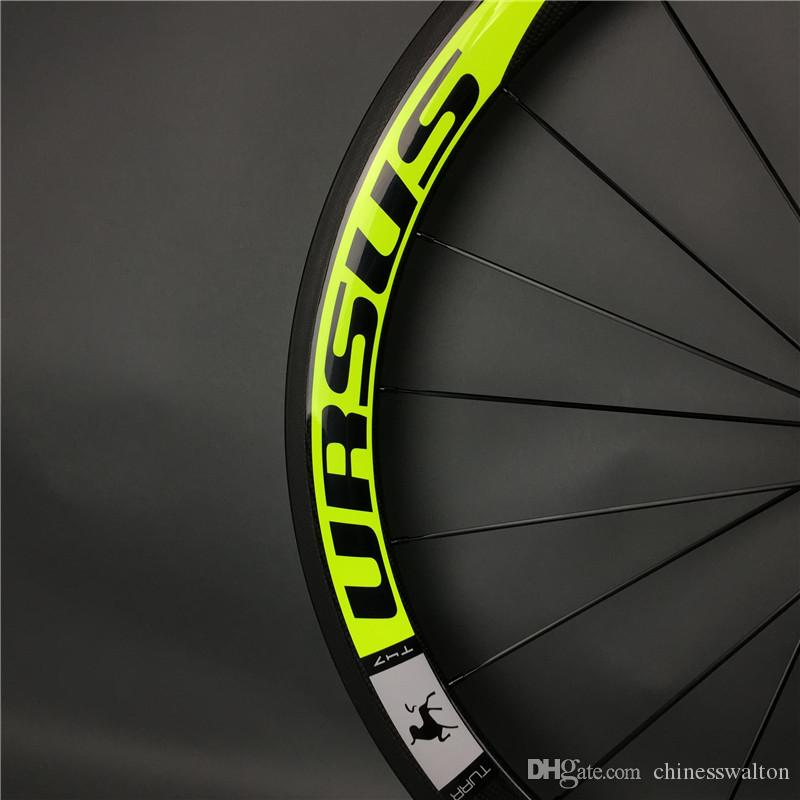 50mm road bike URSUS team eoition flo yellow full carbon fiber wheels bicycle wheelset with powerway R13/R36/R36/novatec 271/291 hubs