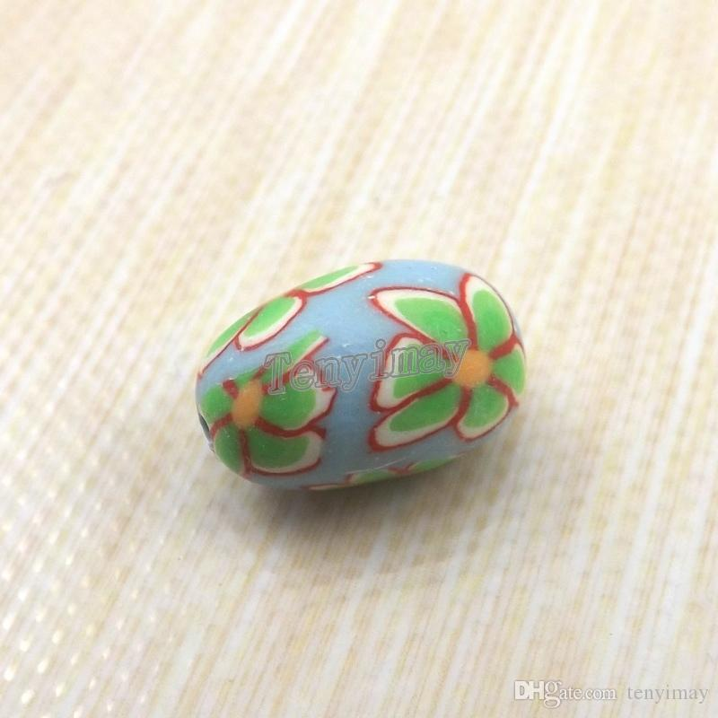 Beads de argila de polímero de forma de ovo 11x15mm misturado cor de argila de cor para colar fazendo frete grátis
