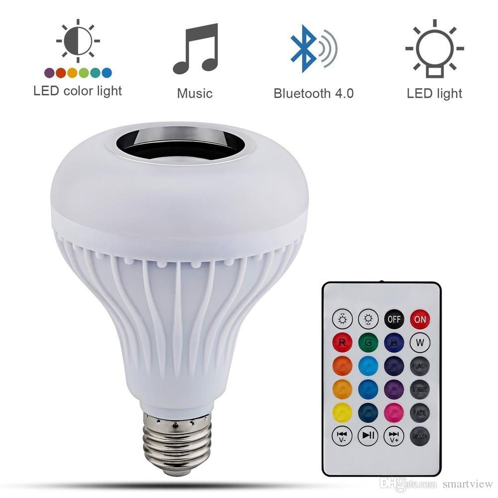 bulbo de la energía del altavoz Bluetooth Wireless LED RGB 12W E27 con música lámpara de luz del mando a distancia +