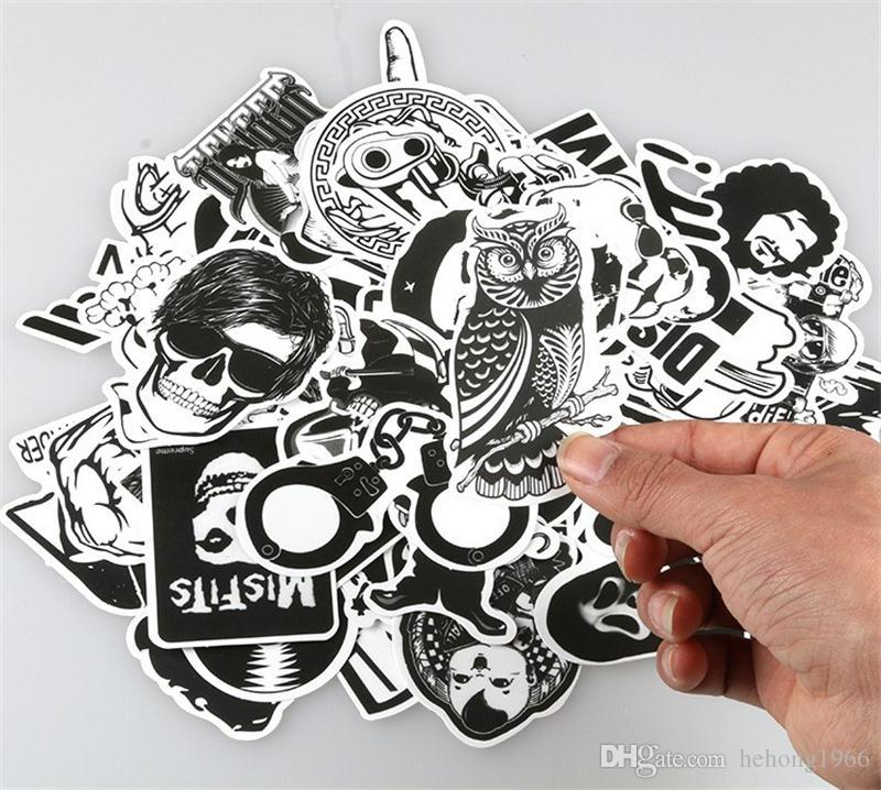 Personality Scrawl Stickers Black And White Cartoon Doodle Sticker Automobile Motorcycle Draw Bar Box Decorative Decals Wall Room 7 06xq A
