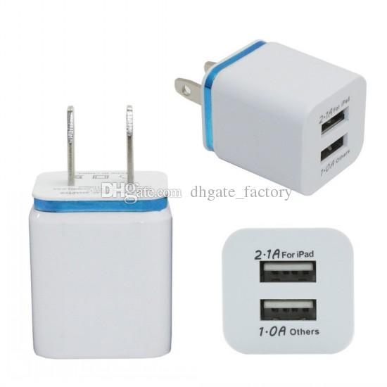 삼성 갤럭시 노트 LG 태블릿 용 금속 듀얼 USB 벽 US 플러그 2.1A AC 전원 어댑터 벽 충전기 플러그 2 포트 아이 패드 DHL 무료