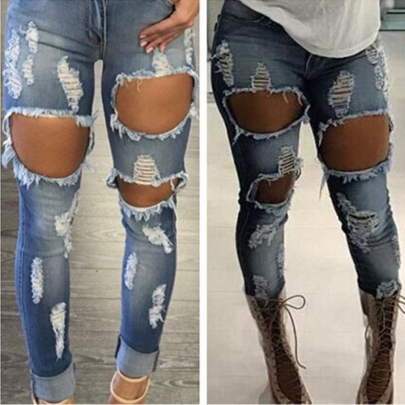 c1f347cb0e7 Wholesale 2017 Sexy Jeans Women Destroyed Ripped Distressed Woman Fashion  Casual Hole Denim Slim Pants Sexy Jeans Trousers Pants Canada 2019 From  Edwiin04, ...