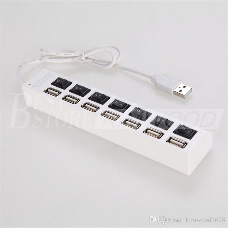 Alta calidad 7 puertos LED Hubs USB Adaptador de alta velocidad Hub USB con encendido / apagado del interruptor para computadora portátil PC 60038 DHL